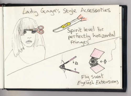 Lady Gaga fringe and eyelashes