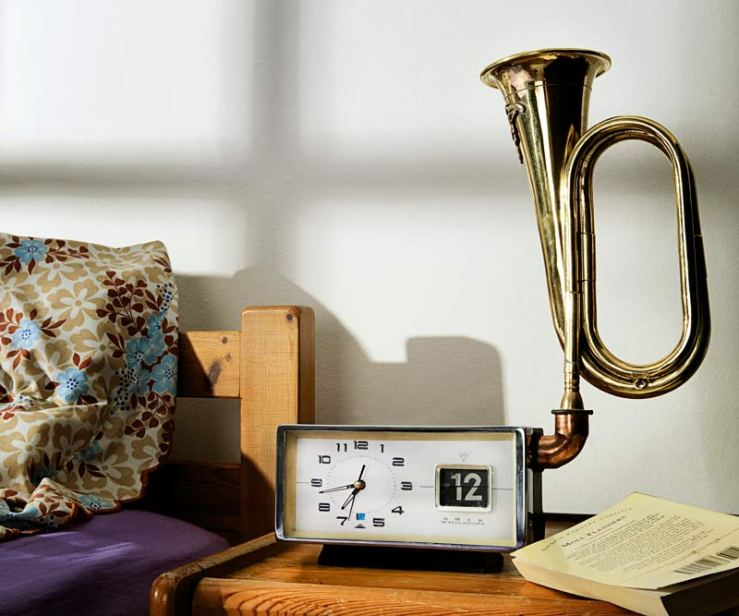 bugle alarm clock by Dominic Wilcox
