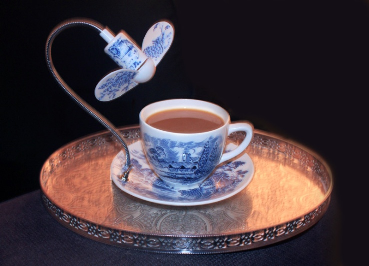tea cup and saucer with cooling fan by Dominic Wilcox