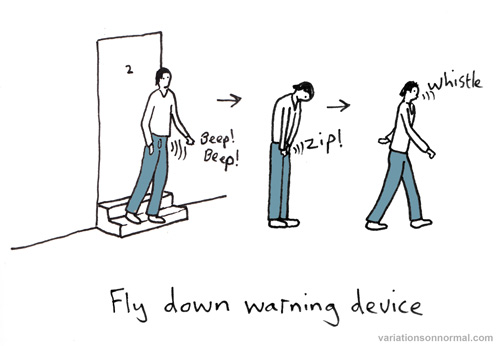 Fly down warning device