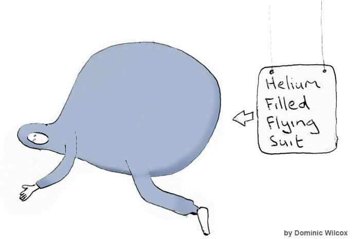 氦气填充飞翔的跳衣服