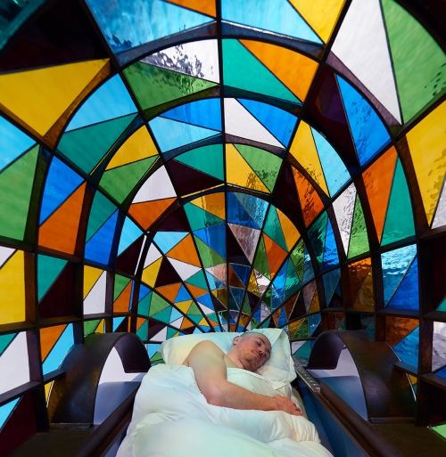 stained glass driverless car by Dominic Wilcox